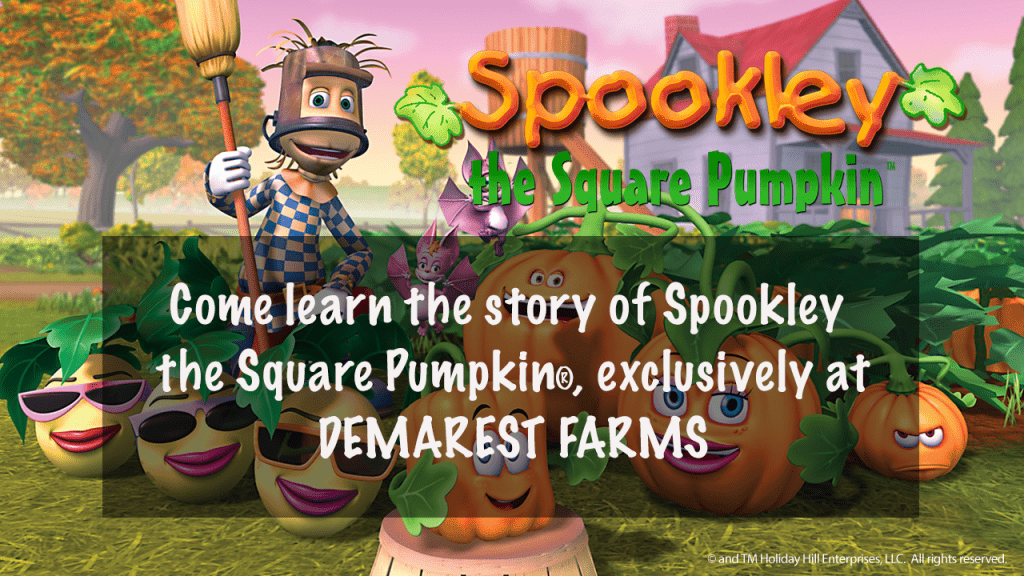 Spookley the Square Pumpkin at Demarest Farms