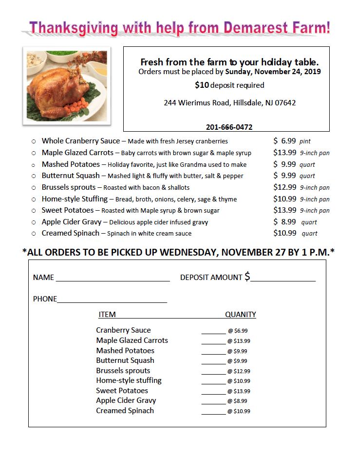 Thanksgiving Dinner Order